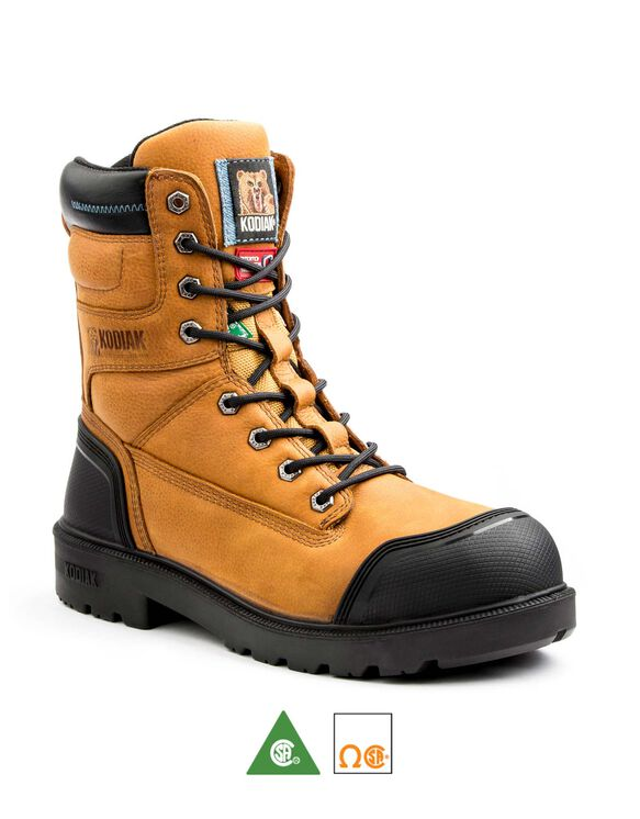 Men's Kodiak Blue Plus Aluminum Toe 8 Inch Work Boots - Caramel